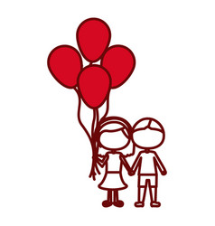 Red silhouette of caricature faceless couple in vector
