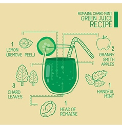 Romaine chard mint green juice recipes detoxify vector image
