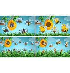 Scenes with bees and beehive vector image vector image