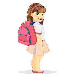 schoolgirl with backpack coming back to school vector image