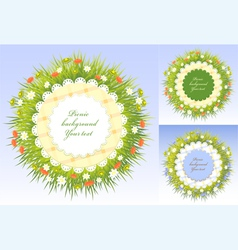 Set picnic frames with grass and flowers vector