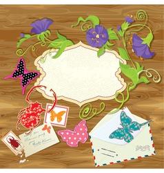 Wooden background with butterflies beetle flower vector image vector image