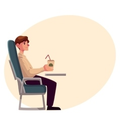 Young man seating in airplane economy class vector