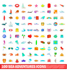 100 sea adventures icons set cartoon style vector
