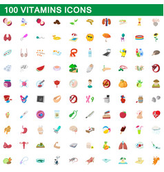 100 vitamins icons set cartoon style vector image vector image