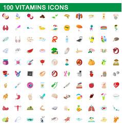 100 vitamins icons set cartoon style vector image