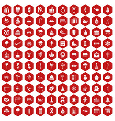 100 winter holidays icons hexagon red vector image