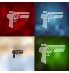 Gun game icon on blurred background vector
