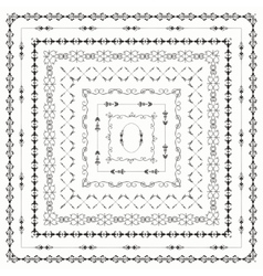 Black vintage hand drawn square frames vector