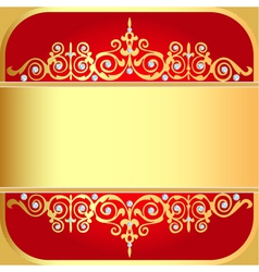 background with gold ornaments and precious stones vector image
