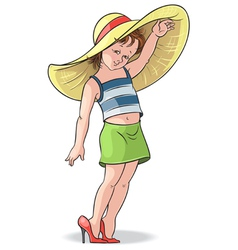 Funny little girl trying on mothers shoes and hat vector
