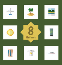 Flat icon beach set of sunshine reminders vector