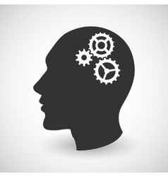 Human head silhouette with set of gears vector