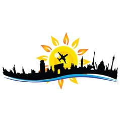 Travel city building sign vector
