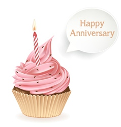 Happy anniversary cupcake vector