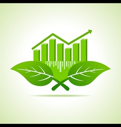 Ecology concept - business graph with leaf vector