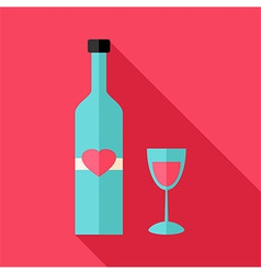 Alcohol bottle with glass with heart vector