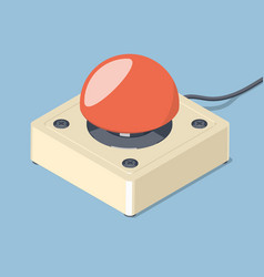 3d emergency start stop red button vector
