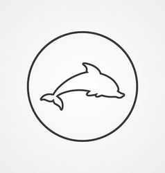 Dolphin outline symbol dark on white background vector