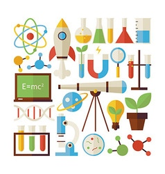 Flat style collection of science and education vector