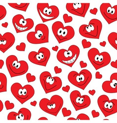 Seamless background of smiling hearts vector