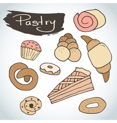 Hand drawn sweet pastry set bakery vector