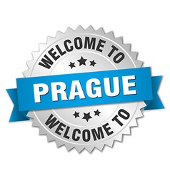 Prague 3d silver badge with blue ribbon vector
