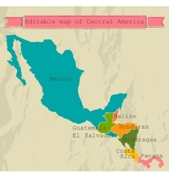 Editable central america map with all countries vector