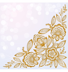 Beautiful carved corner gold flowers vector