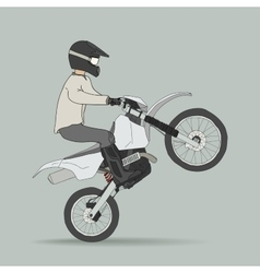 Biker on off-road motorcycles vector