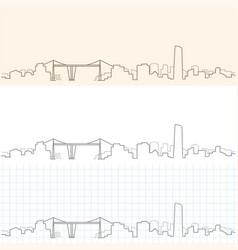 Bilbao hand drawn skyline vector