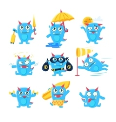 Blue dragon in different situation vector