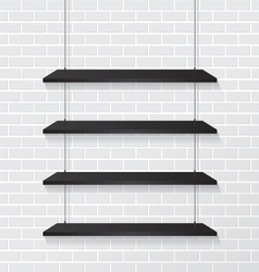 Brick wall and black shelves vector image vector image