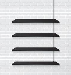 Brick wall and black shelves vector