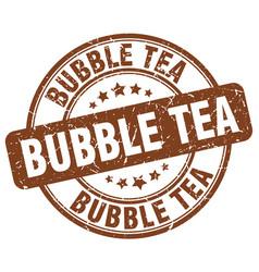 Bubble tea brown grunge round vintage rubber stamp vector