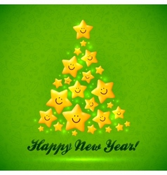 Christmas tree made from yellow cute shining vector image