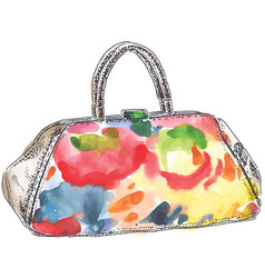 colored handbag watercolor vector image vector image