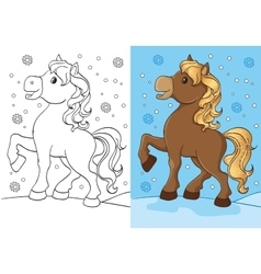 Coloring book of cute horse with golden mane vector