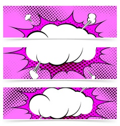 Comic book pop art style web header collection vector image vector image