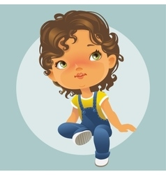 Cute little girl looking up vector image vector image