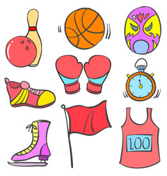 Doodle sport equipment various collection vector