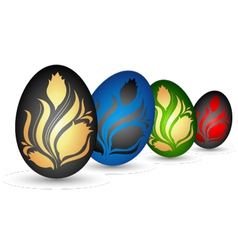 Easter eggs with flowers vector image