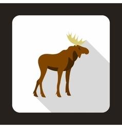 Elk icon flat style vector