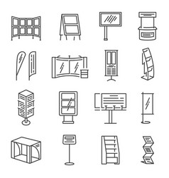 exhibition stand icon set vector image