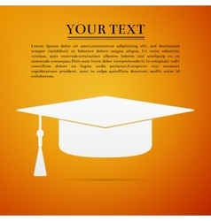 Graduation cap flat icon on orange background vector image