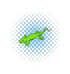 Green gecko lizard icon comics style vector