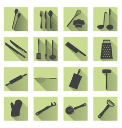 Home kitchen cooking utensils flat shadow icons vector