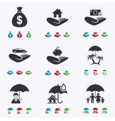 Insurance icons life real estate and house vector