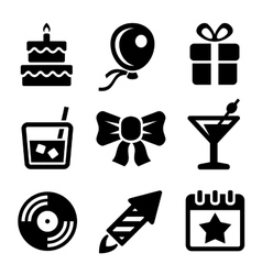 Party and birthday icons set vector