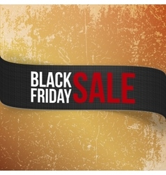 Realistic ribbon with black friday sale text vector